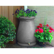 Rain Water Barrel Urn 65 Gallon Planter Top Garden Decor Light Granite W/Spigot