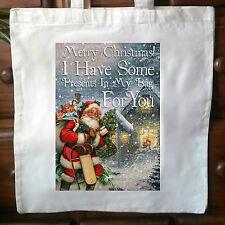 Santa Tote Bag, Navidad, Shopper, Bolsa de algodón, Papá Noel Bolsa De Por Vida