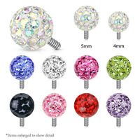 Clear Epoxy Covered Ferido Ball 316L Surgical Steel Dermal Anchor Tops