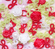 50 x Christmas Pearl Shapes (Hearts Bows Flowers) Decoden Kawaii UK SELLER