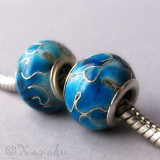 2PCs Turquoise Blue Cloisonne Enamel Beads For European Style Charm Bracelets