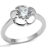 Ladies 0.85ct Clear CZ Stone Flower Silver White Gold Plated Ring