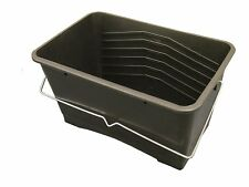 PACK OF 3 - 15L BLACK PLASTIC PAINT SCUTTLE WITH METAL HANDLE PAINT BUCKET