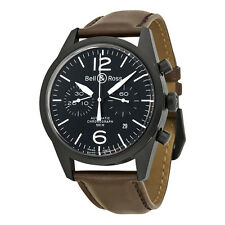 Bell and Ross Black Dial Chronograph Brown Leather Automatic Mens Watch