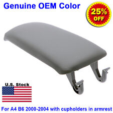 Leather Armrest Center Box Console Lid Cover for 2000-2004 Audi A4 B6 Grey Cup