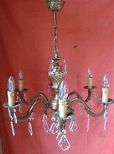 lustre à pampilles en bronze massif équipé de 6 bras de lumière