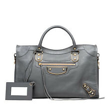 Sale! EUC Auth Balenciaga Classic Metallic Edge City Gold Bag Gris Acier Gray