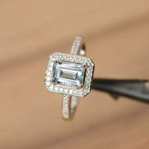 2.20Ct Emerald Cut Aquamarine Halo Engagement Wedding Ring 14K White Gold Finish
