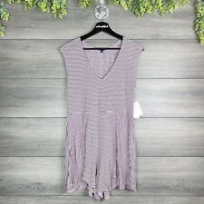 SPLENDID NWT Pink & Blue Striped Sunday Afternoon Shorts Romper Cover Up Size M