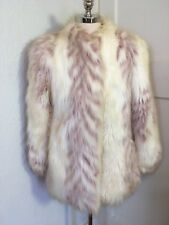 OOAK VTG Faux Fur Yeti Coat White Animal Stripe Print Shaggy womens L mens M