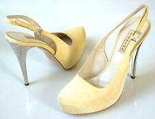 new $595 R & RENZI GIANMARCO LORENZI light sand platforms silver heel shoes HOT