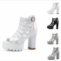 Ladies Block High Heel Sandals Summer Gladiator Womens Peep Toe Hollow Out Shoes