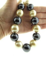 Vintage Monet Pearl Statement Necklace .75x17.5-19""
