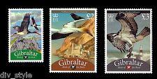 Birds of the Rock set of 3 stamps mnh Gibraltar 2009 Black stork Gannet Osprey