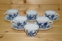 Blue Danube BLUE DANUBE (6) Demitasse Cups & (5) Demitasse Saucers | Japan