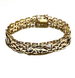 "14k yellow white gold  7"" Panther bracelet 30.1g unique estate vintage"