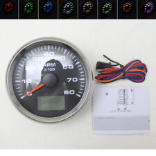 85mm Tachometer 8000 RPM Car Boat Pointer Gauge Hourmeter Counter 8 Color LED 1x