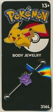 OFFICIALLY LICENSED Pokemon Jewelry Gengar Industrial Barbell Body Jewelry