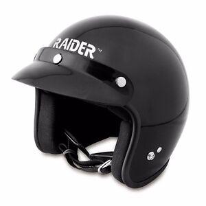 Raider Journey Black Motorcycle ATV Adult Open Face Helmet Size Small NEW!