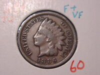 1886 T2 INDIAN HEAD CENT F + VF BETTER DATE COIN NICE COMBINED SHIPPING