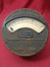 VTG 1900s WESTON ELECTRICAL INSTRUMENT AMMETER CAST IRON FACE 6 1/2