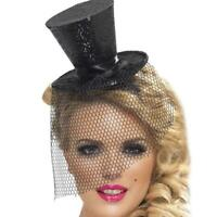 Mini Glitter Top Hat Hair Clip Veil Ladies Burlesque Hen Night Fancy Fancy U1V1