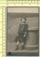 080 1910s Girl in Studio Kid Sailor Outfit w/ Hat vintage original cabinet photo