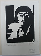 GERMAN PRINTMAKING, 1950  Walter Glinka. Woodcut in black of woman and child.