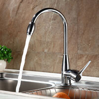 Single Handle Pull Out Sprayer Kitchen Sink Faucet Swivel Spout Brushed Nickel