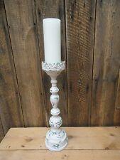 Shabby Chic Style Tall Light Weight Metal Pillar Candlestick Holder D1