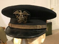 WWII US Navy Officers Visor Hat USN