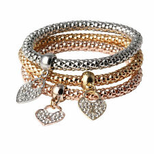 UK* Ladies 3 set Rose Gold silver Gold plated heart bracelet jewellery gift 1082