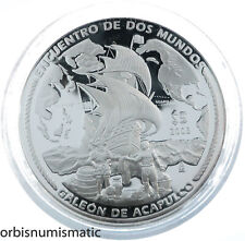MEXICO 5 PESOS 2003 GALEÓN DE ACAPULCO MEETING 2 WORLDS SILVER RARE PROOF ZG108