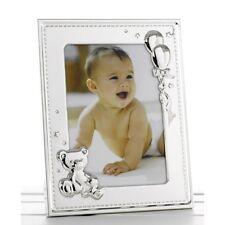 """Nuevo bebé marco de fotos de plata con osito y globos para foto de 5"""" X 7"""""""