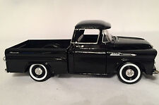 1958 Chevy Apache Fleetside Pickup Truck Black by Motomax 1/24 Scale Diecast
