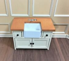 Dollhouse Miniature Kitchen Sink with Counter Top & Cabinet 1:12 Scale Cream