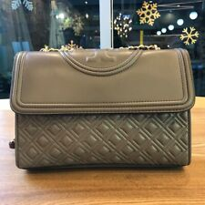 Tory Burch FLEMING CONVERTIBLE SHOULDER BAG Large Silver Maple AUTHENTIC
