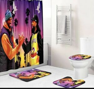 Lakers Kobe Bryant #24 Shower Curtain Rug toilet seat cover and toilet rug