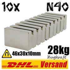 10 x Imán Neodimio Quader 46x30x10mm N40 Fuerza de tracción 28kg fijación fuerte