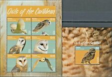 086.CANOUAN GRENADINES OF ST. VINCENT 2014 STAMP S/S + M/S OWLS OF THE CARIBBEAN