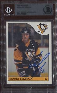 1985 Topps Mario Lemieux Signed Rookie Card BAS Sharp Auto Autograph Penguins