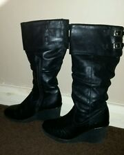 Bronx black leather wedge buckle boots size 4