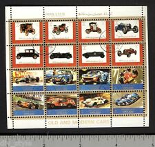 Old and Modern Cars miniature sheet of 16 stamps CTO auto racing