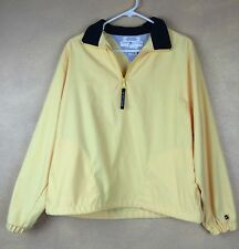 Tommy Hilfiger Golf 1/2 Zip Pullover Medium Yellow w Navy Blue Collar