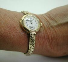 1930,s Beautiful 9ct Gold Fancy Dial Bracelet Watch In Original Case