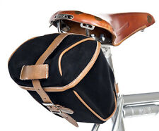 GILLES BERTHOUD CITY BAG SMALL SADDLE PACK NERO con Tan Leather TRIM