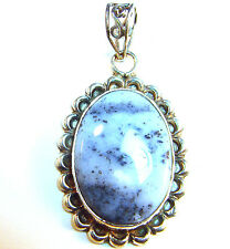 """dendrite opal & sterling silver pendant, 2"""" (with bail) x 1"""", 9.19 grams"""