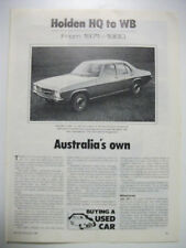 HOLDEN HQ HJ HX HZ & WB 1971 TO 1980 SECONDHAND CAR BUYING GUIDE
