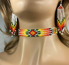 NATIVE STYLE HANDMADE ETHNIC BEADED GRAY MAROON BEADED CHOKER NECKLACE N9/1