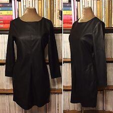 TOPSHOP black faux leather long sleeve pencil dress UK 14 / US 10 fitted